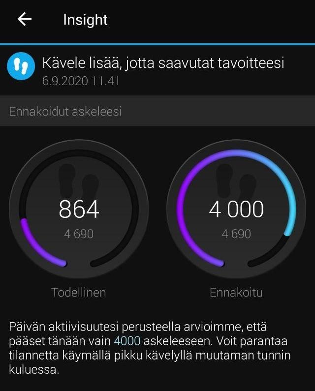 Sovellus kannustaa kävelemään lisää, jotta käyttäjä saavuttaa tavoitteensa. Kaksi ympyräkuviota visualisoivat päivän ennakoidun kokonaisaskelmäärän (4000) sekä todellisen, saavutetun askelmäärän (864).