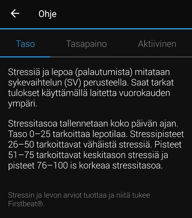 Garmin Connect -sovelluksen ohjenäkymä kertoo, miten stressiä ja lepoa mitataan sykevaihtelun avulla.