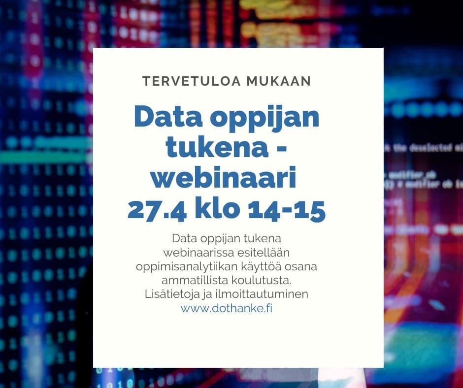Data oppijan tukena -webinaarissa esitellään oppimisanalytiikan käyttöä osana ammatillista koulutusta.